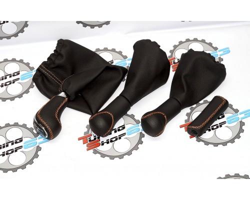 Комплект ручек КПП, раздатки и ручного тормоза в коже в стиле Веста,  на Ниву 4х4 (21214, 2131,URBAN)